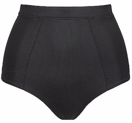 Zara High Waisted Bikini Pant - Black Ribbed (Full Back)