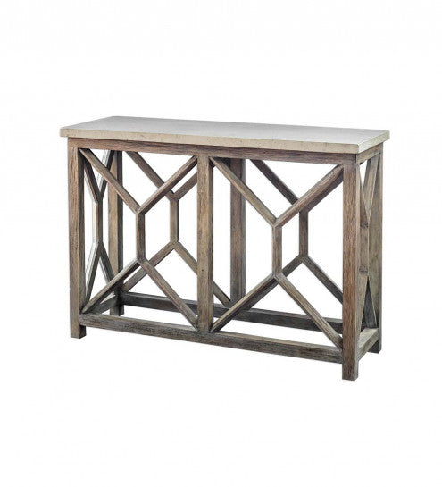 Handcrafted Stone & Wood Console Table