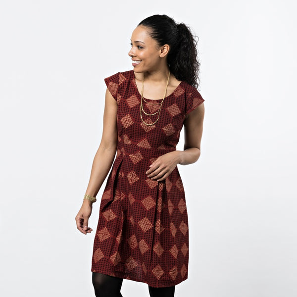 Vintage Pleat Dress Rust Red