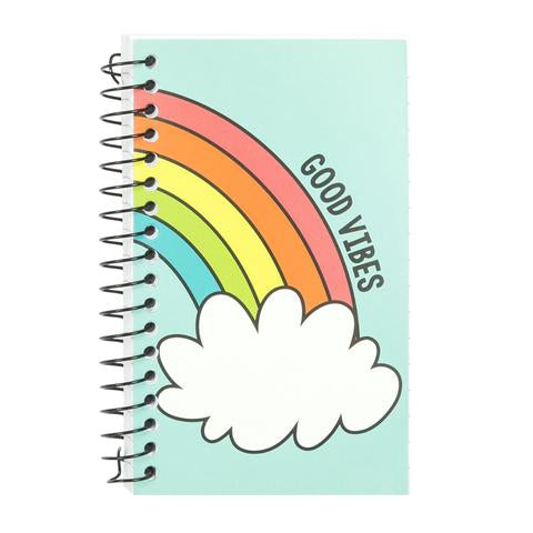 Mini Spiral Notebook - Good Vibes Rainbow