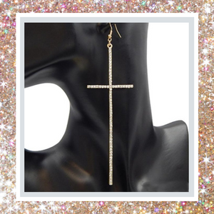 Cross Drop Earrings- Gold