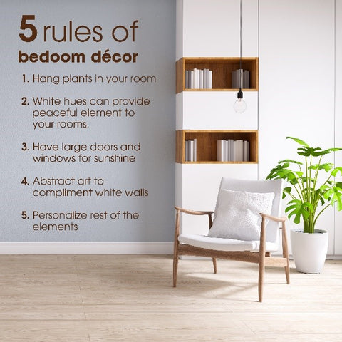 An infographic on 5 rules of décor to have a beautiful bedroom
