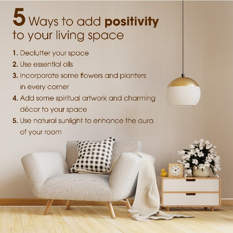 Infographic on how to add positivity to living room space