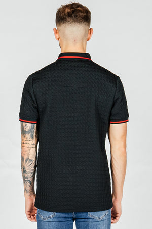 Men's Dogtooth Polo T-Shirt in Black