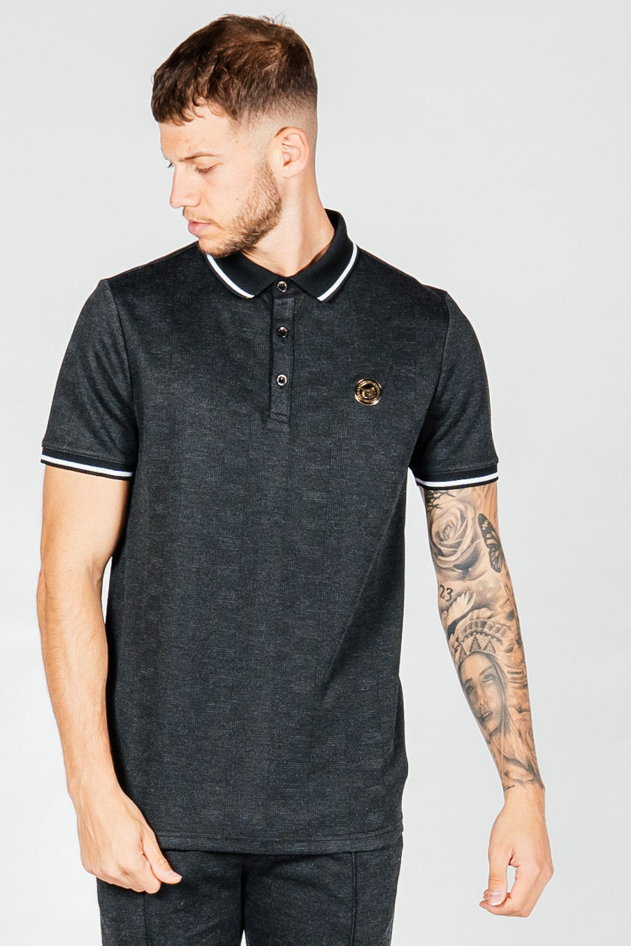 Men's Grid Polo T-Shirt in Black
