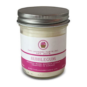 Soy Wax Candle - Bubblegum Scent - The Laundry Tarts