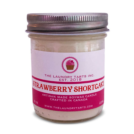 Soy Wax Candle - Strawberry Shortcake Scent - The Laundry Tarts