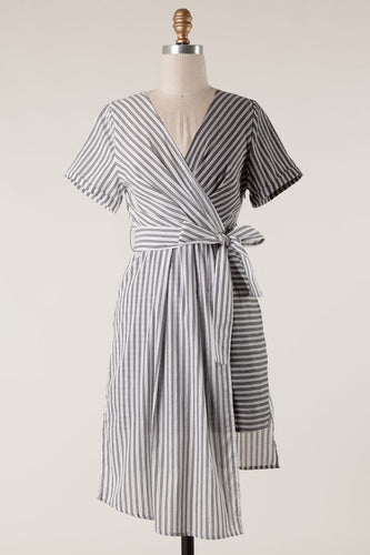 Margot Asymmetrical Black & White Stripe Dress