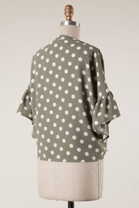 Olivia Polka Dot Button Down Blouse