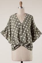 Load image into Gallery viewer, Olivia Polka Dot Button Down Blouse