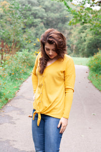 A Sure Thing Knot Top - Mustard Yellow