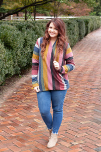 To The Moon And Back - Striped Crossover Sweater