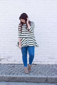 Today Is Beautiful Striped Peplum Blouse