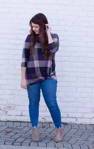 Just Be Kind Checkered Twist Tee
