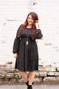 Raine - Charcoal Bubble Sleeve Dress