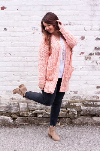 Just Peachy Popcorn Knit Cardigan