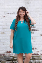 Load image into Gallery viewer, Amelia Scalloped Dress in Jade
