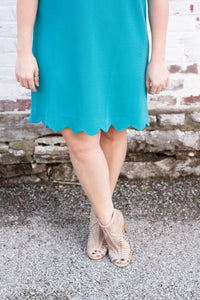 Amelia Scalloped Dress in Jade