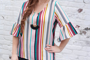 Lydia Striped V-Neck Blouse