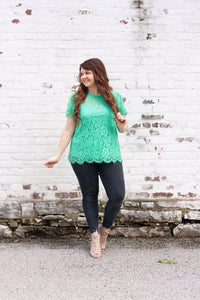 Amoret Lace Blouse in Mint