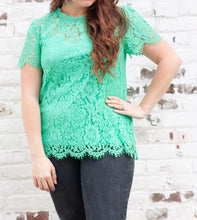 Load image into Gallery viewer, Amoret Lace Blouse in Mint