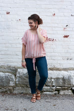 Load image into Gallery viewer, Posie Pink Drawstring Blouse
