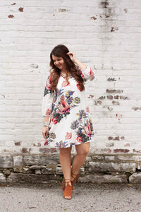 Charlotte Floral Dress in Off White
