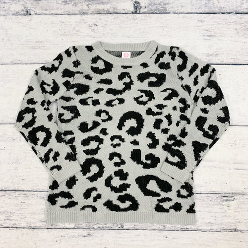 Josie Leopard Sweater in Gray