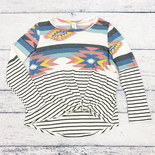 Lynsey Southwestern and Stripe Twist Tee