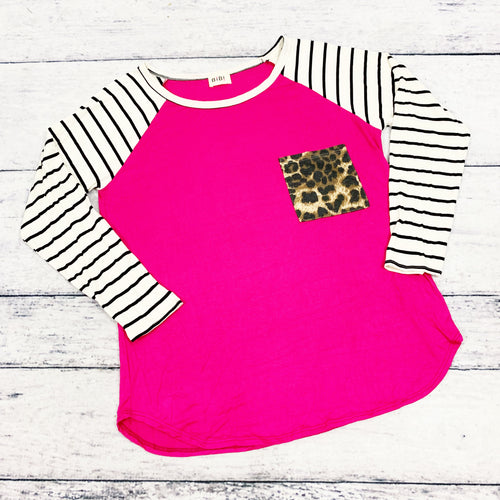 Amy Leopard Pocket Baseball Tee