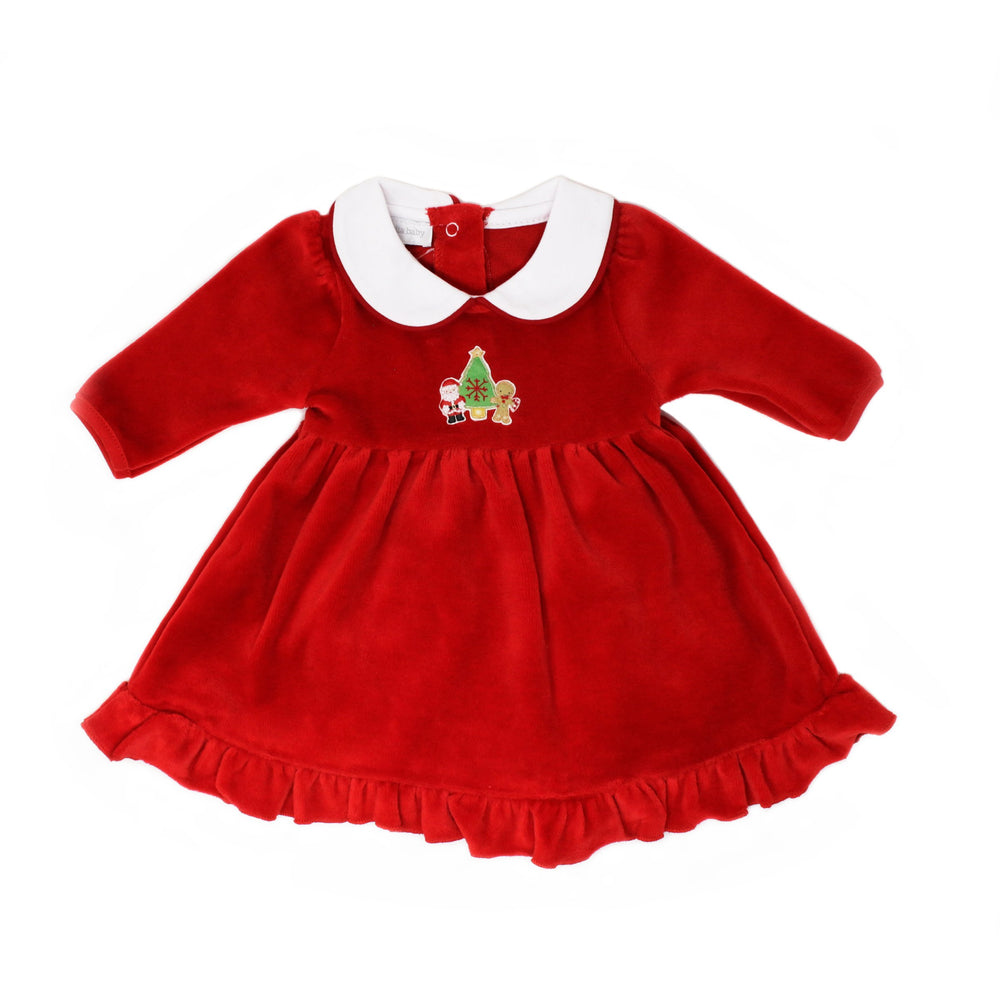 Magnolia Baby Cookies for Santa Embroidered Velour Dress