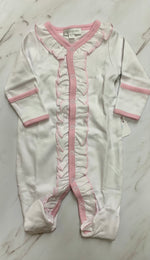 Magnolia Baby White Footie with Pink Ruffle