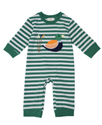 Honeydew Duck Applique Green Stripe Knit Boy Romper