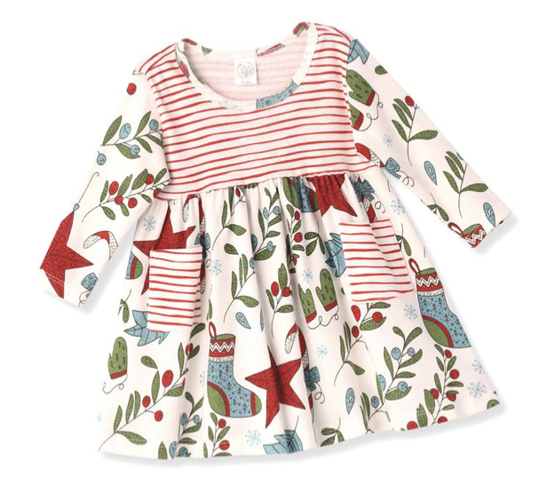 Tesa Babe Christmas Dress in Ivory Red Striped