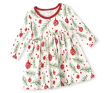Tesa Babe Branches and Bulbs Christmas Dress in Ivory Red Striped