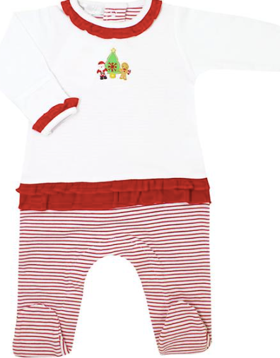Magnolia Baby Cookies for Santa Embroidered Ruffle Footie
