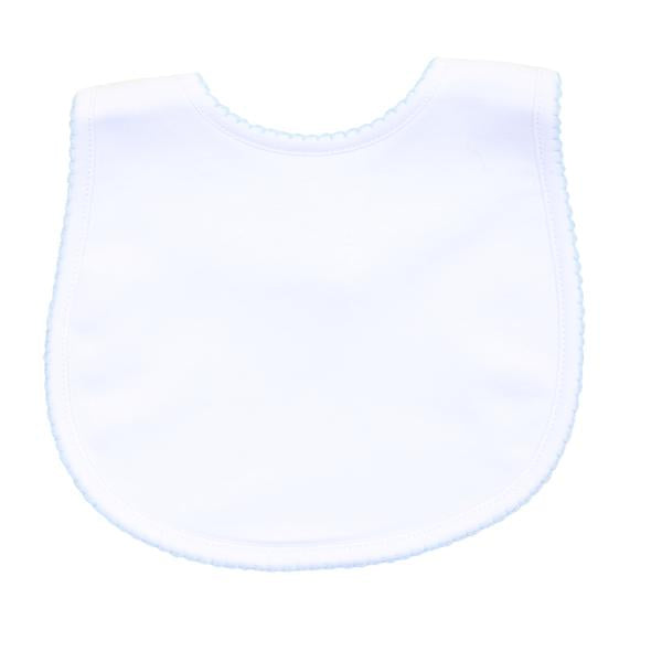 Magnolia Baby Baby Bib - White with Blue Crochet