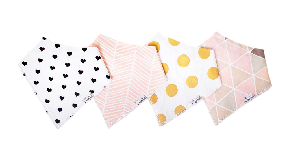 Copper Pearl Baby Bandana Bib Set - 4 Pack - Blush