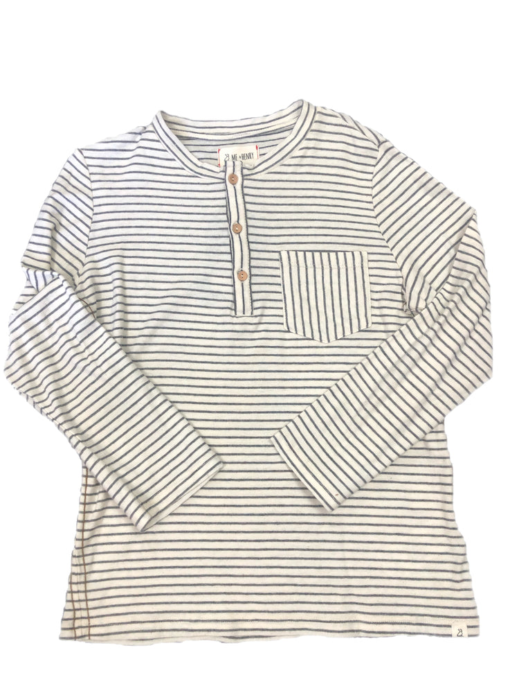 Me and Henry Stripe 3 Button Long Sleeve Shirt with Pocket