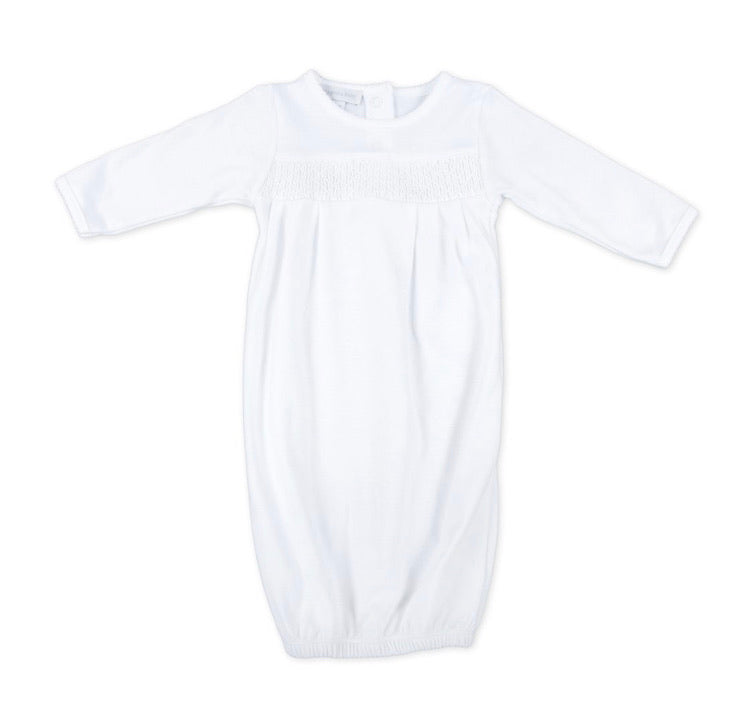 Magnolia Baby Essentials Smocked Gown White