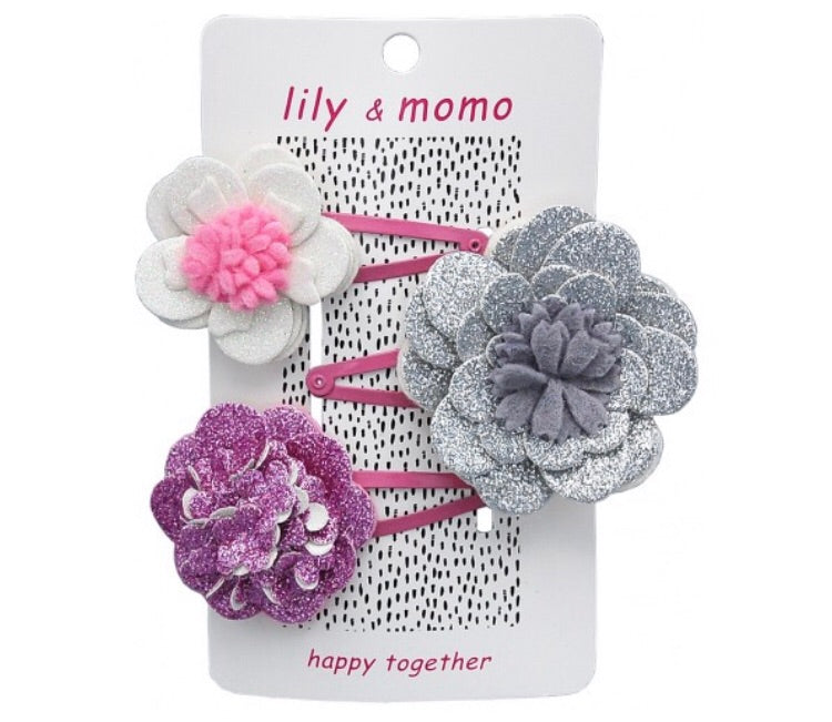 Lily and Momo Magic Sparkle Flower Hair Clips