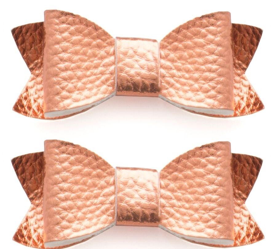 Baby Bling 2 Pack Rose Gold Leather Clip in Bows