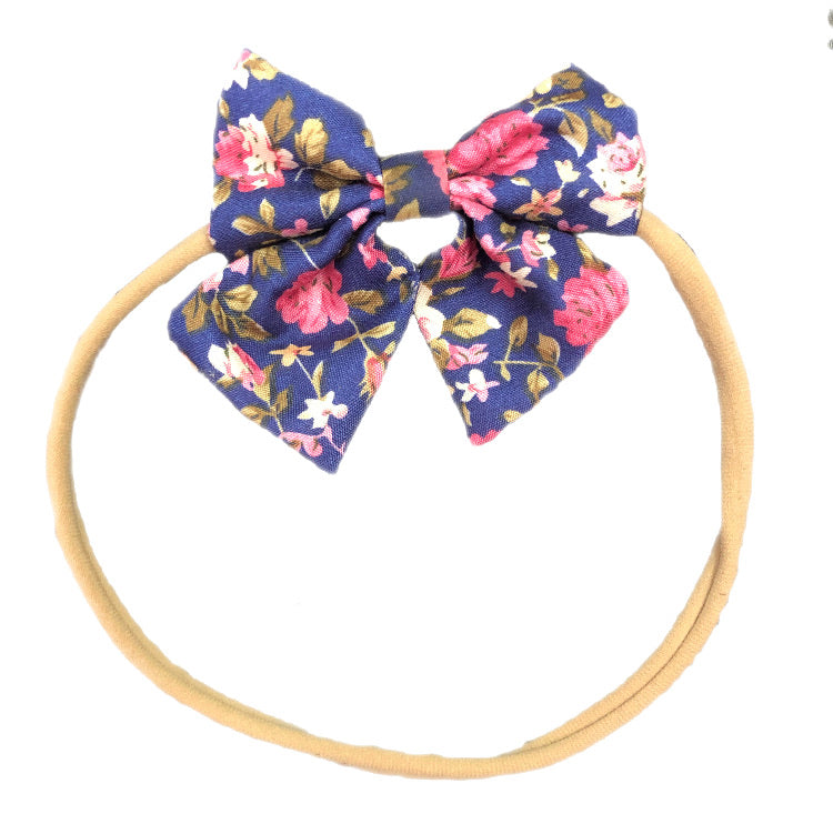 Bows & Headbands Navy Floral Headband bow