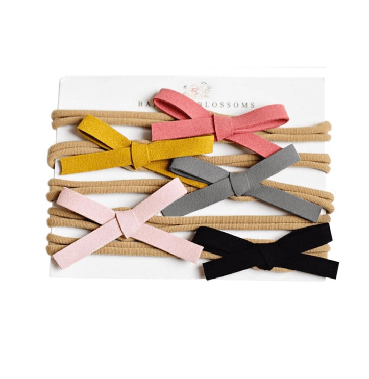 Leather Bow Variety Pack - Coral/Mustard/Grey/Light Pink/Black