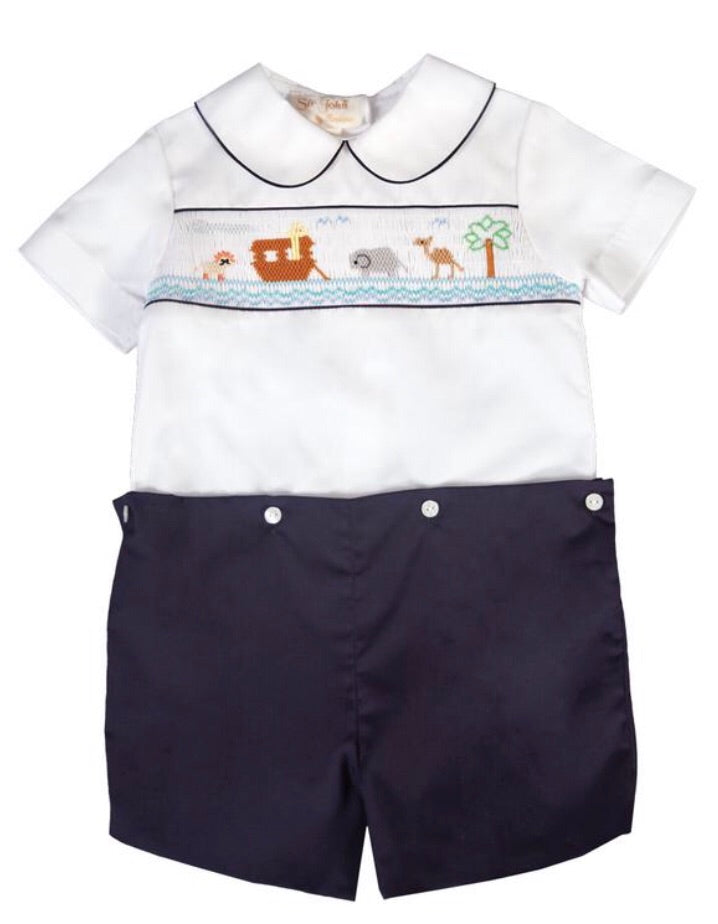 Rosalina Noah's Ark White/Navy Blue Smocked Button-On Short Set