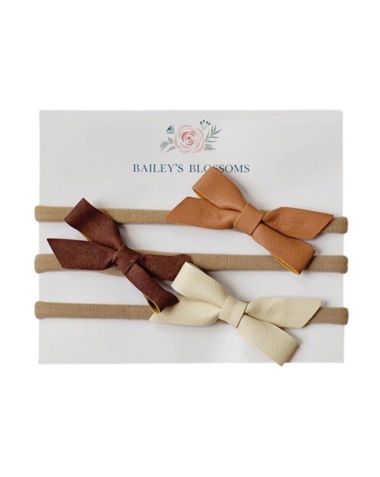 Bailey's Blossoms - 3pc Hair Bow Headband Set - Camel , Brown, Cream