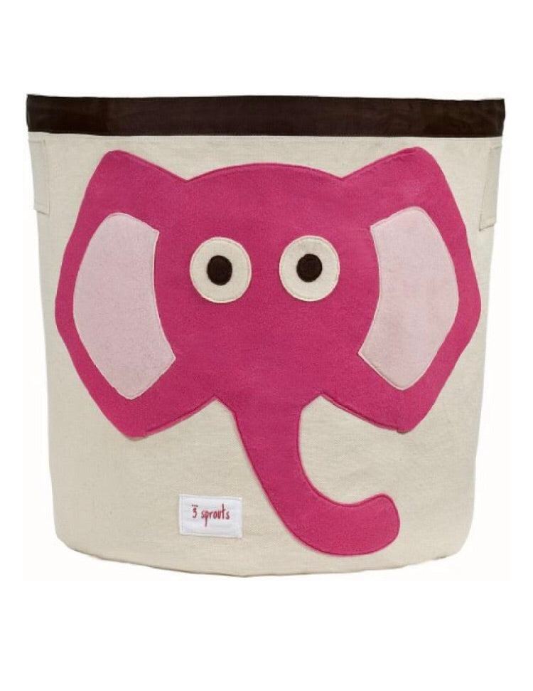 3 Sprouts Canvas Storage Bin - Pink Elephant