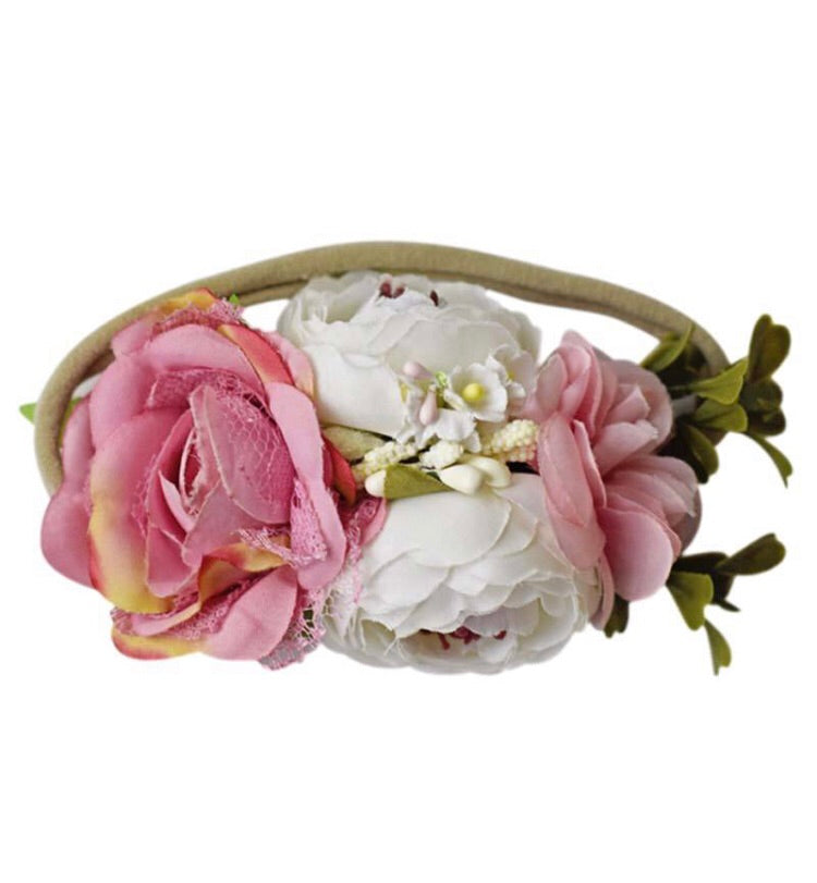 Bailey's Blossoms Floral Stretch Headband Dusty Pink & Ivory