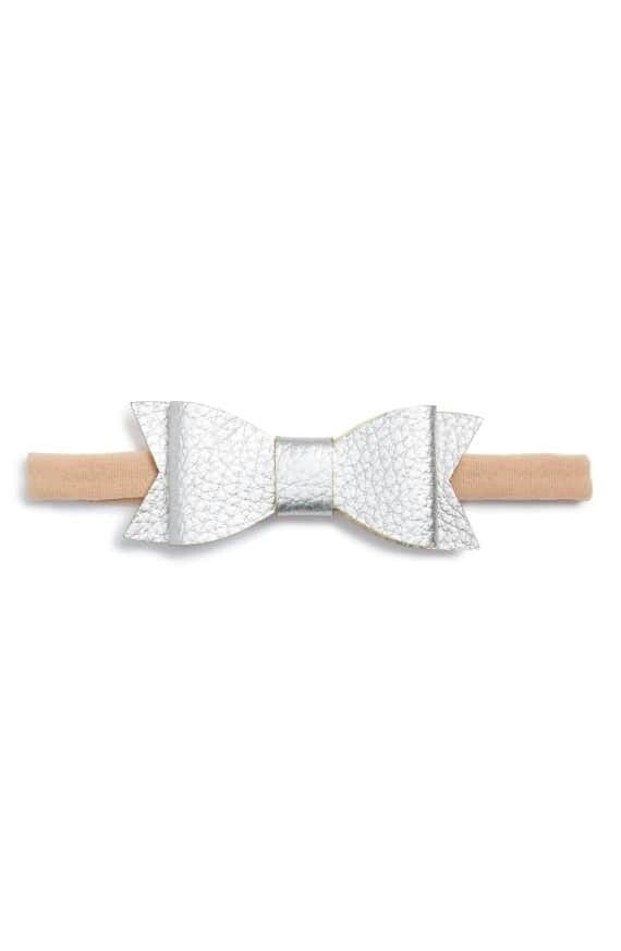 Baby Bling Skinny Leather Bowtie - Silver