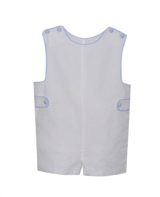 Remember Nguyen White Shortall with Light Blue Piping
